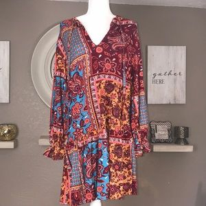 Zara women's flared dress. Paisley design.